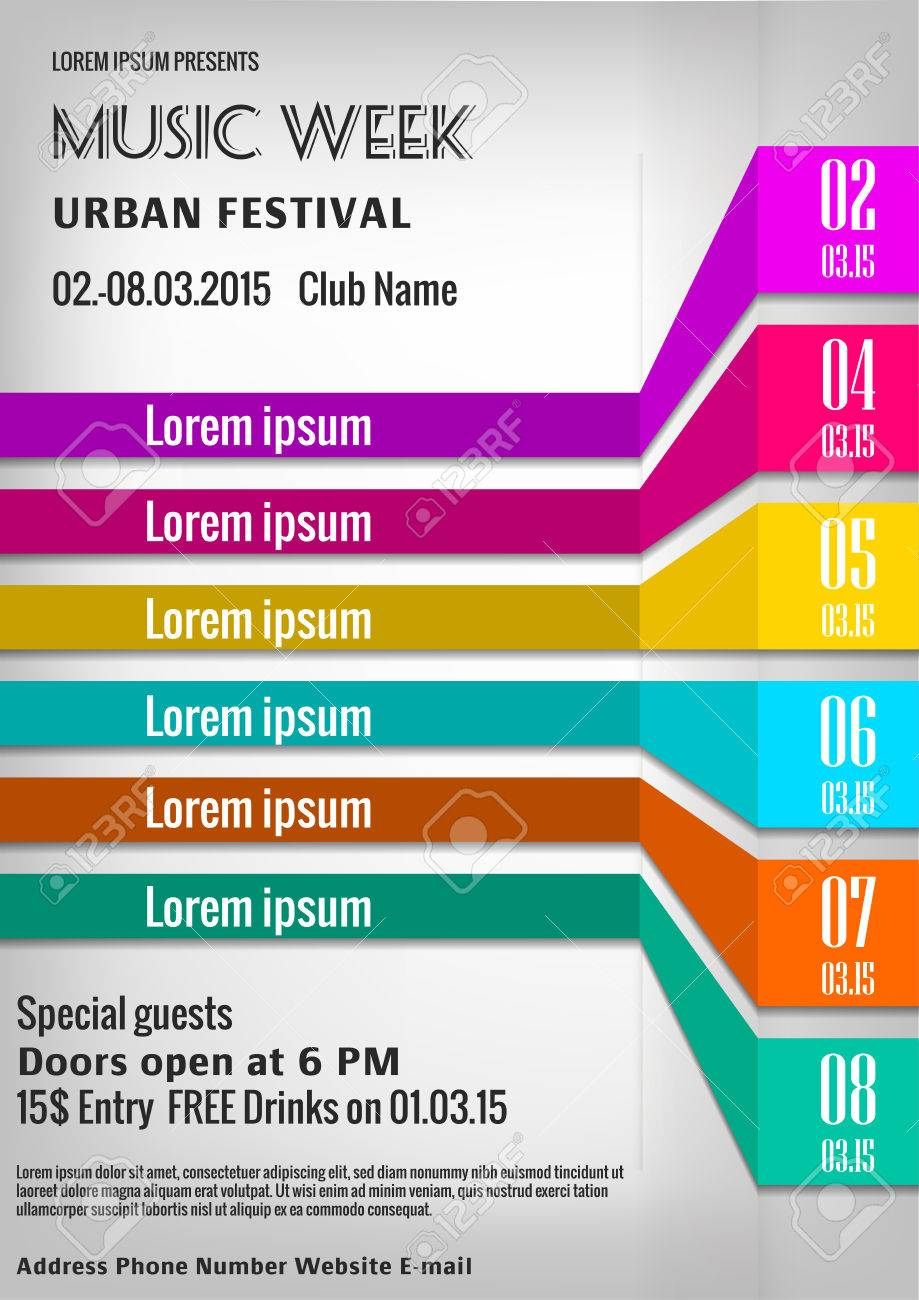 Poster design template free - Vector Illustration Of Bright Music Week Poster Design Template With List Of Options Stock Vector