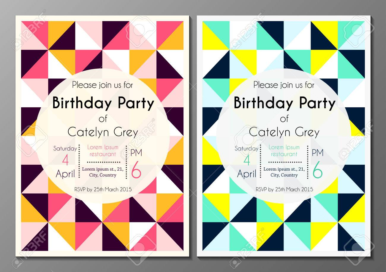 Vector set of invitation card or flyer design template with vector vector set of invitation card or flyer design template with geometric triangular background stopboris Image collections