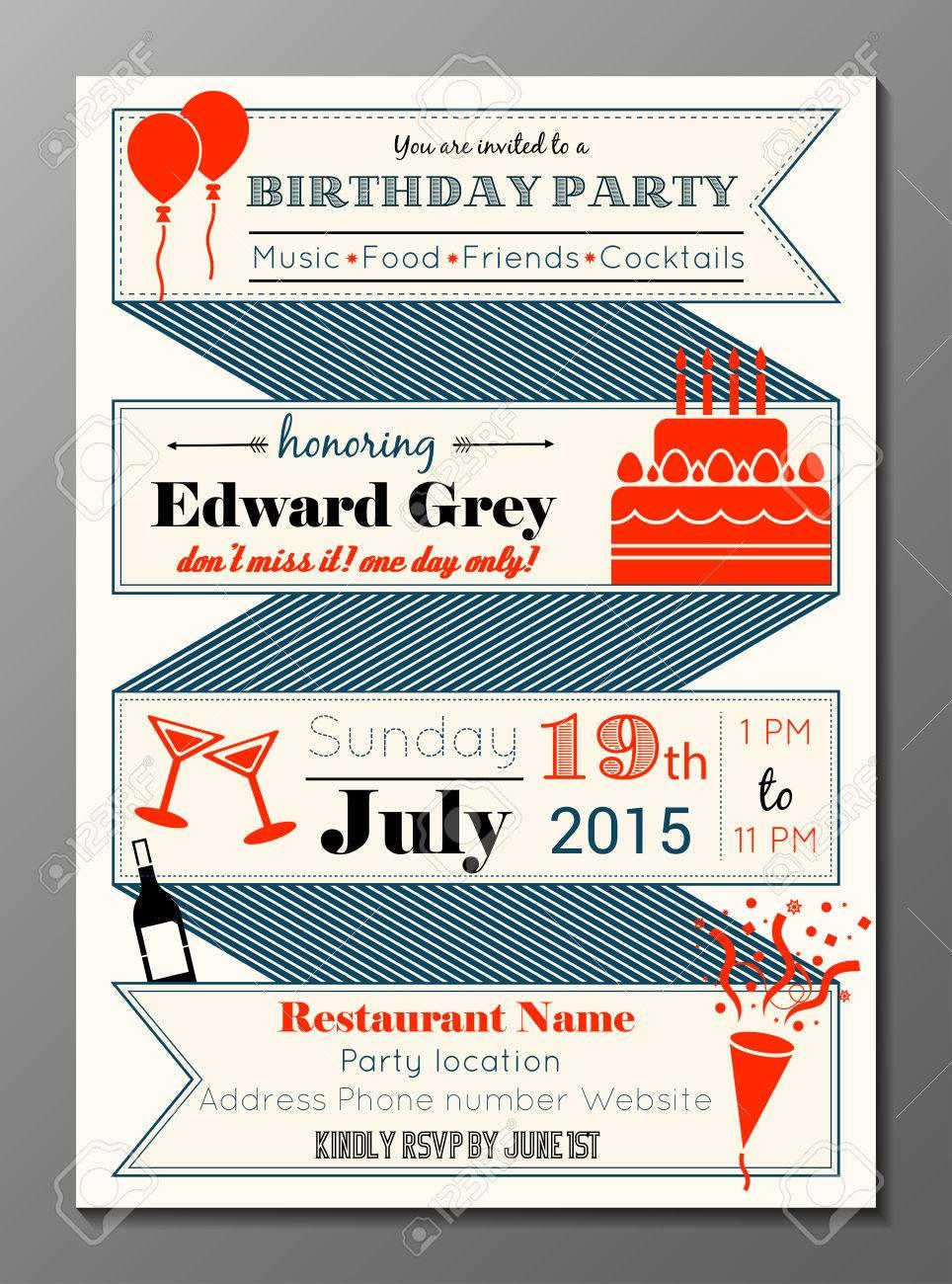 Vector Illustration Of Vintage Birthday Party Invitation Card ...