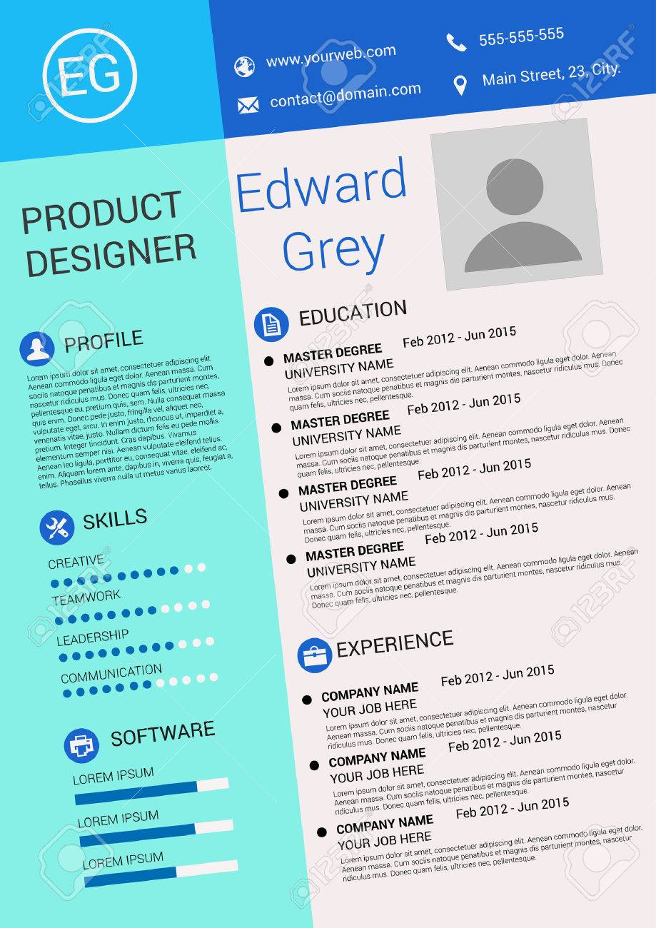 Vector Illustration Of Artistic Resume Design Template Stock Vector    38557448  Artistic Resume