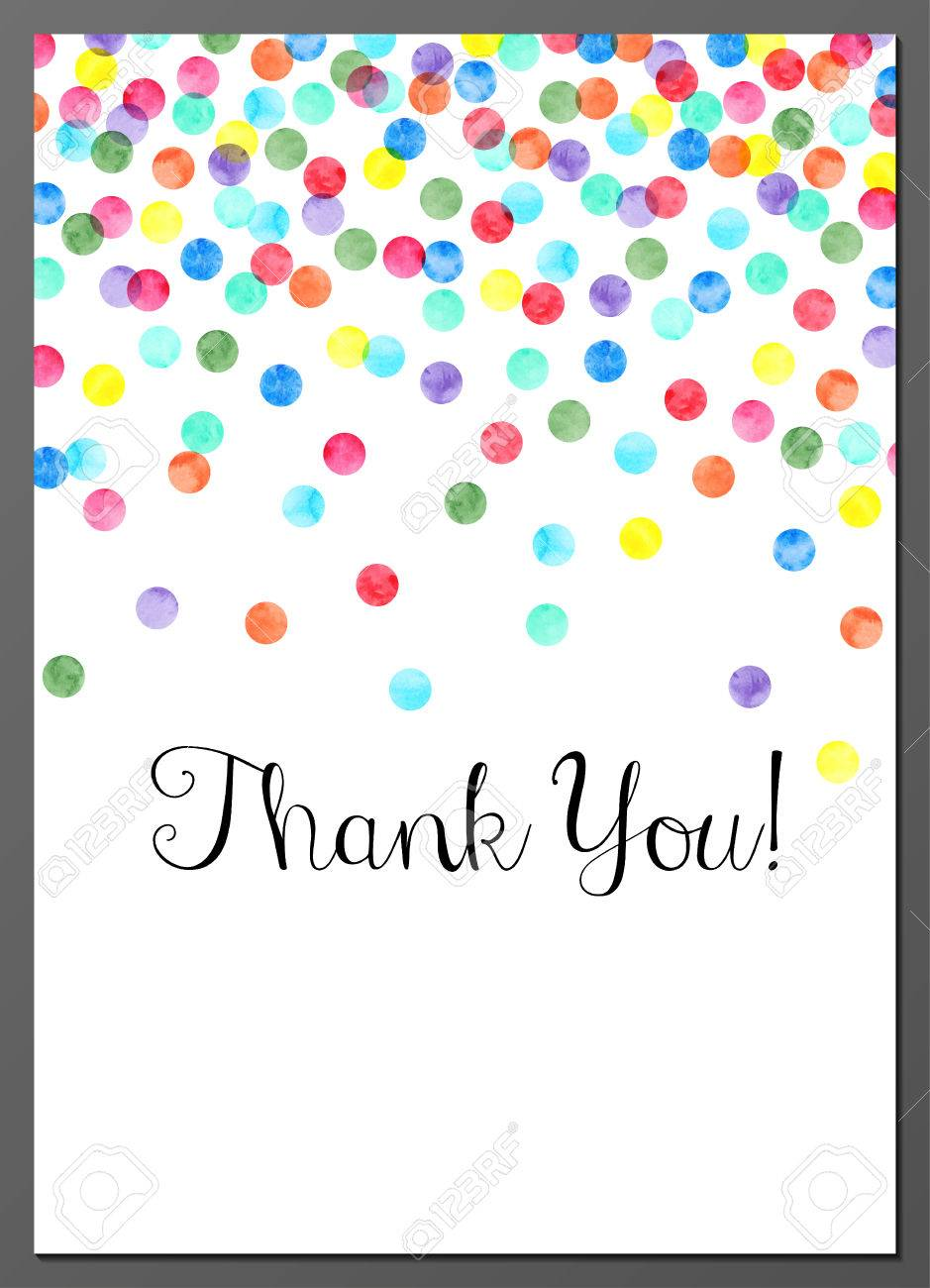 vector illustration of thank you card decorated with watercolor