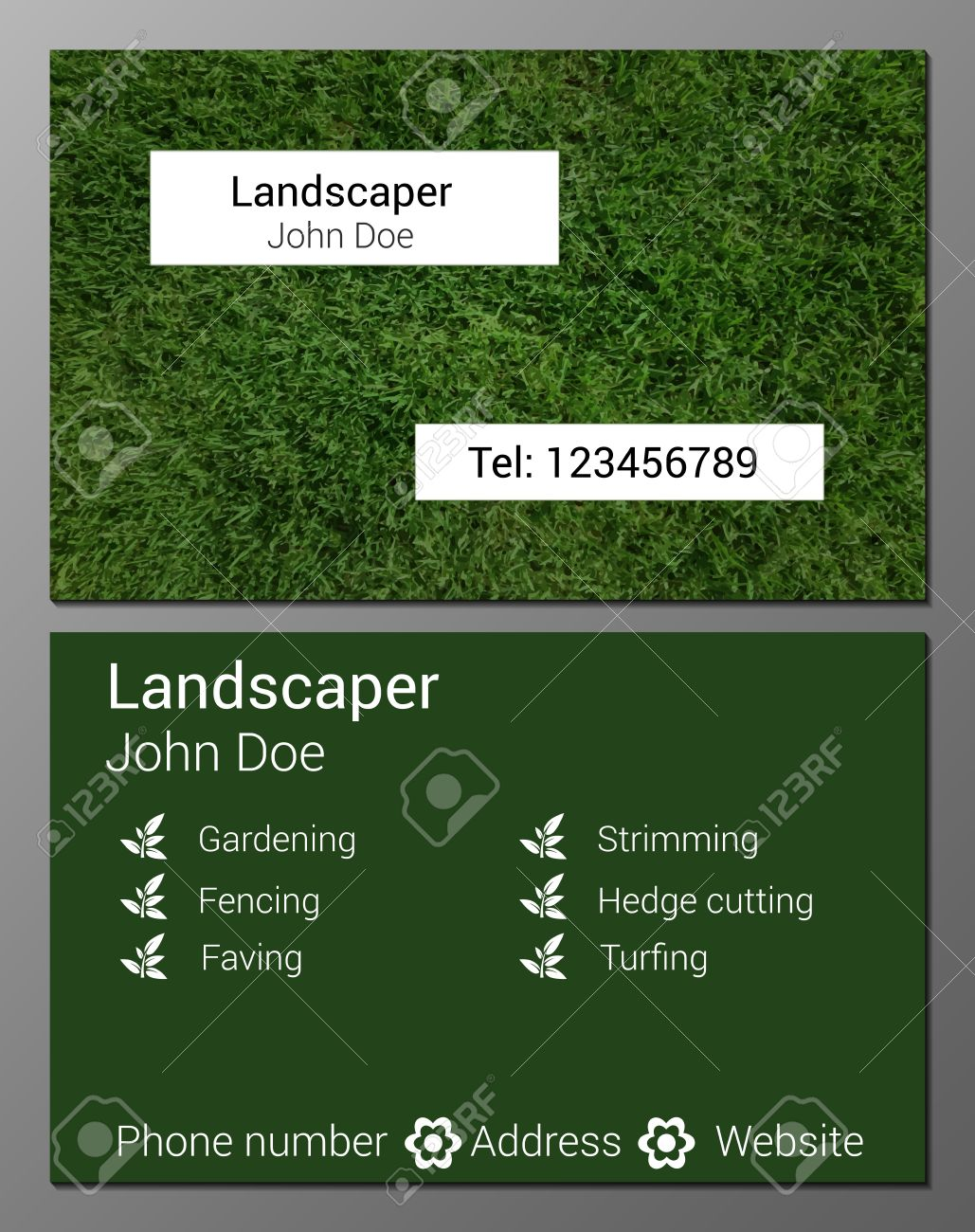 Vector illustration of gardener business card design template vector vector illustration of gardener business card design template with realistic grass texture accmission Image collections