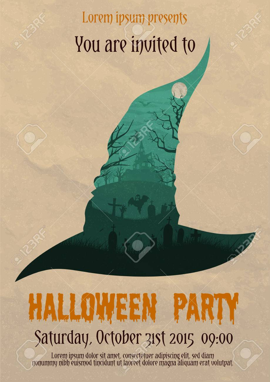 Vector Illustration Of Vintage Halloween Party Invitation Or ...