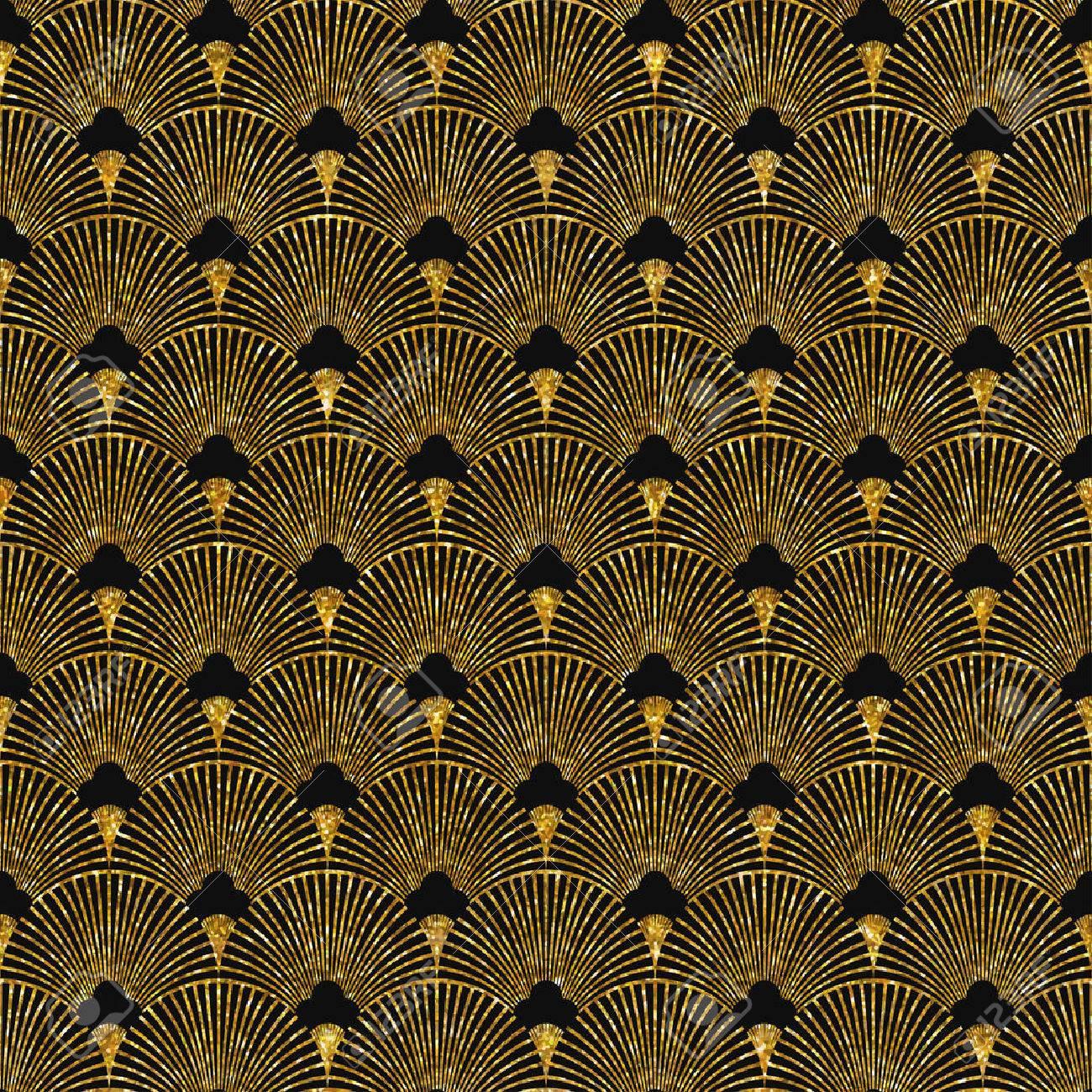 Vector illustration of seamless pattern in art deco style. Golden glittering texture. - 50573129