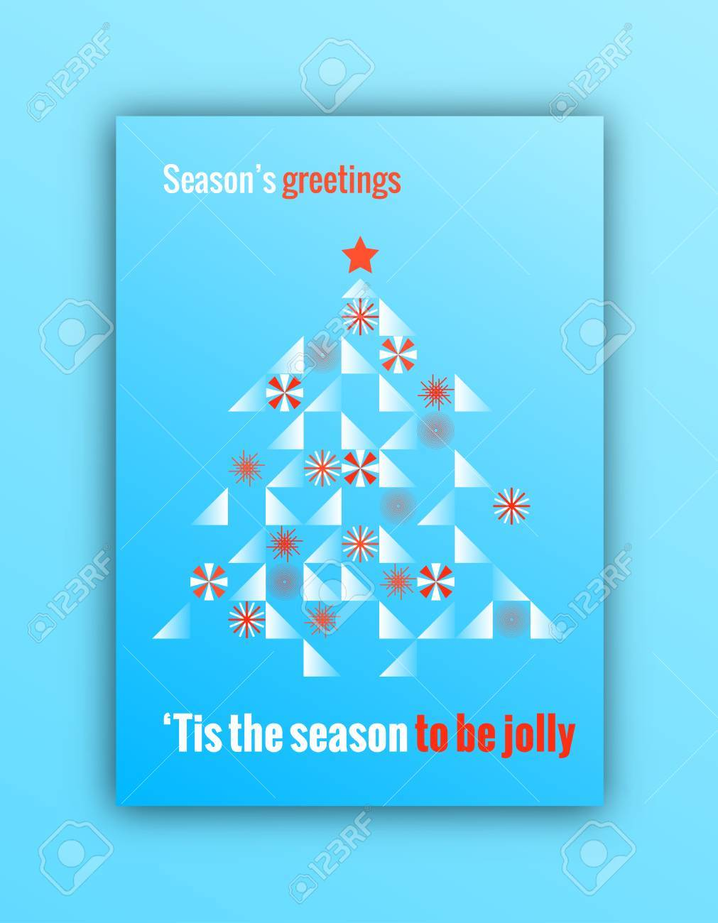 Merry Christmas Greeting Card. Trendy Minimal Design For Posters ...
