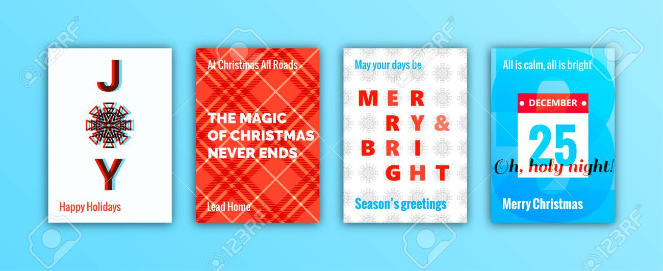 Set of winter holidays season greeting cards merry christmas set of winter holidays season greeting cards merry christmas decoration elements and lettering trendy m4hsunfo