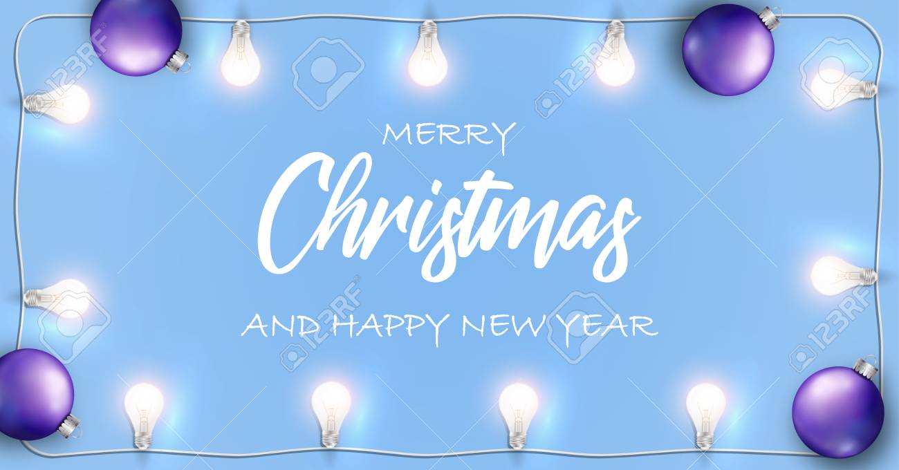 vector vector merry christmas and happy new year banner blue background with glowing white lights garland and christmas bulb
