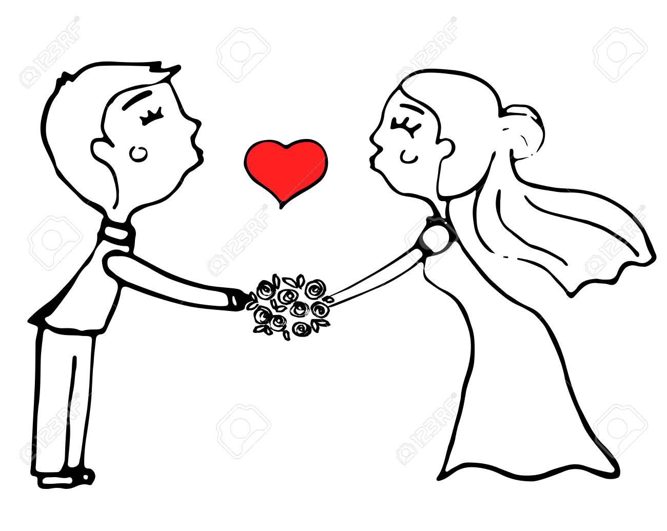 結婚式のカップル イラスト漫画のイラスト素材ベクタ Image 84631952