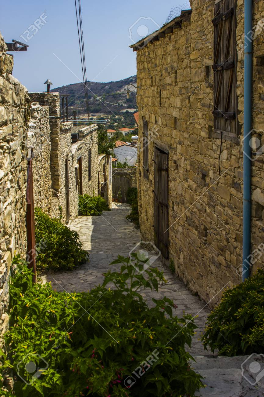 stone windows and walls in the village of Lefkara in Cyprus
