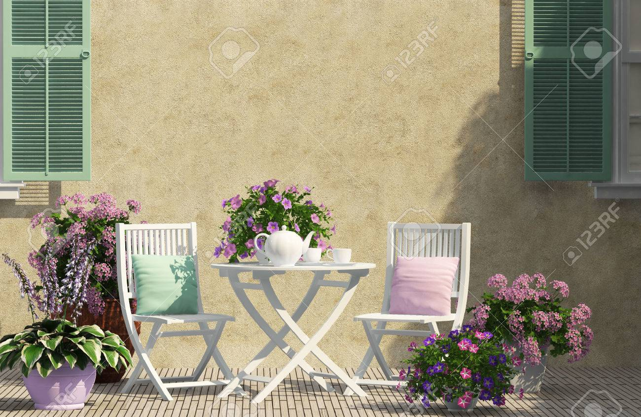 beautiful terrace with white furniture - 53928709