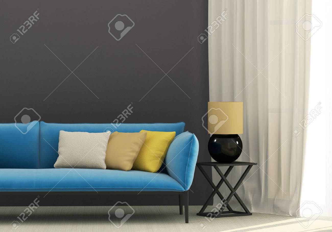 Intérieur Gris Avec Canapé Bleu Et Coussins Jaunes Banque D\'Images ...