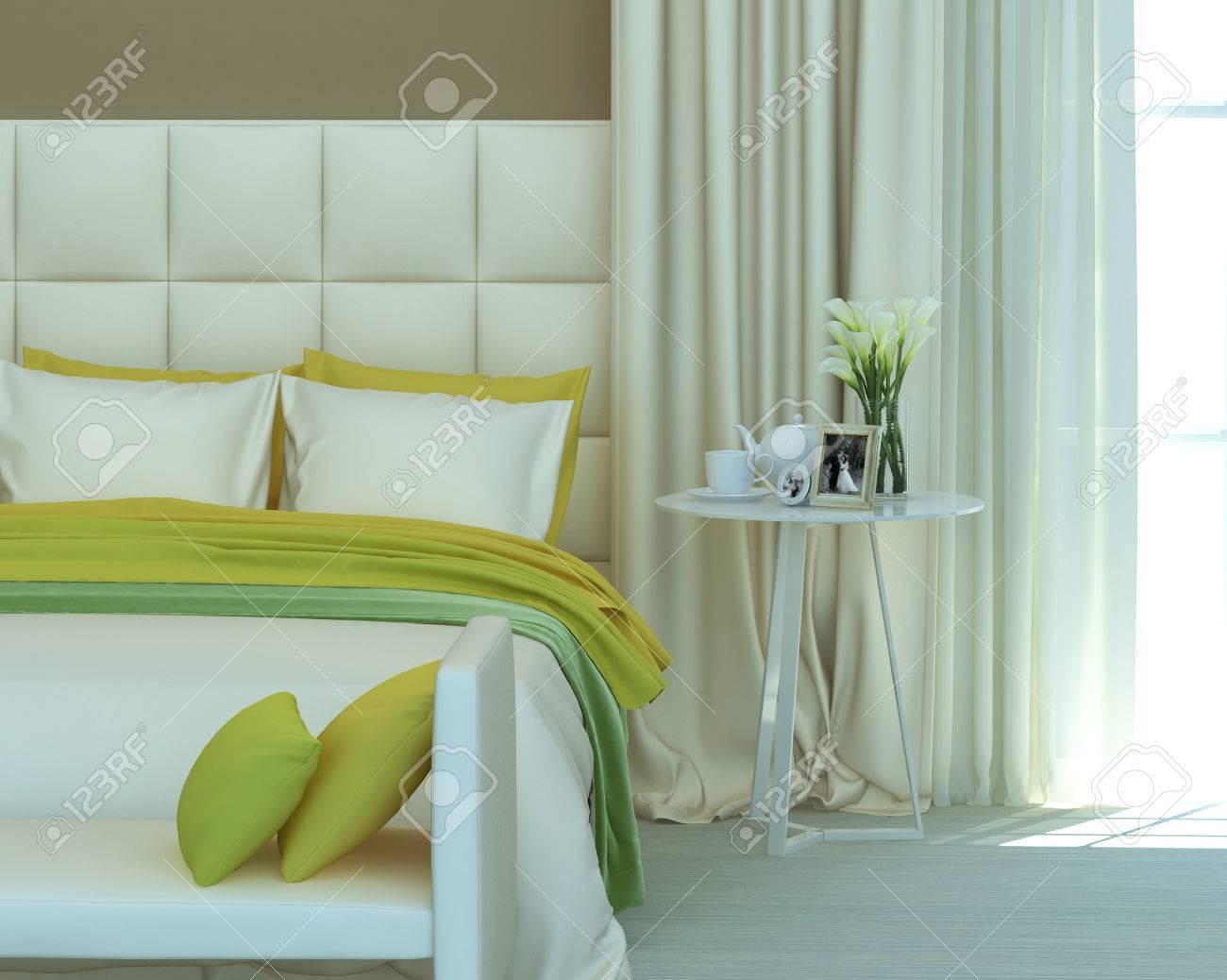Couleurs jaune et vert dans l\'intérieur de la chambre. Rendu 3D