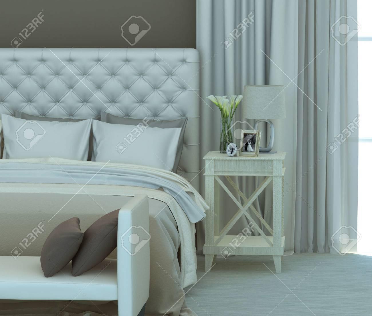 Couleurs beige et blanc dans l\'intérieur de la chambre. Rendu 3D