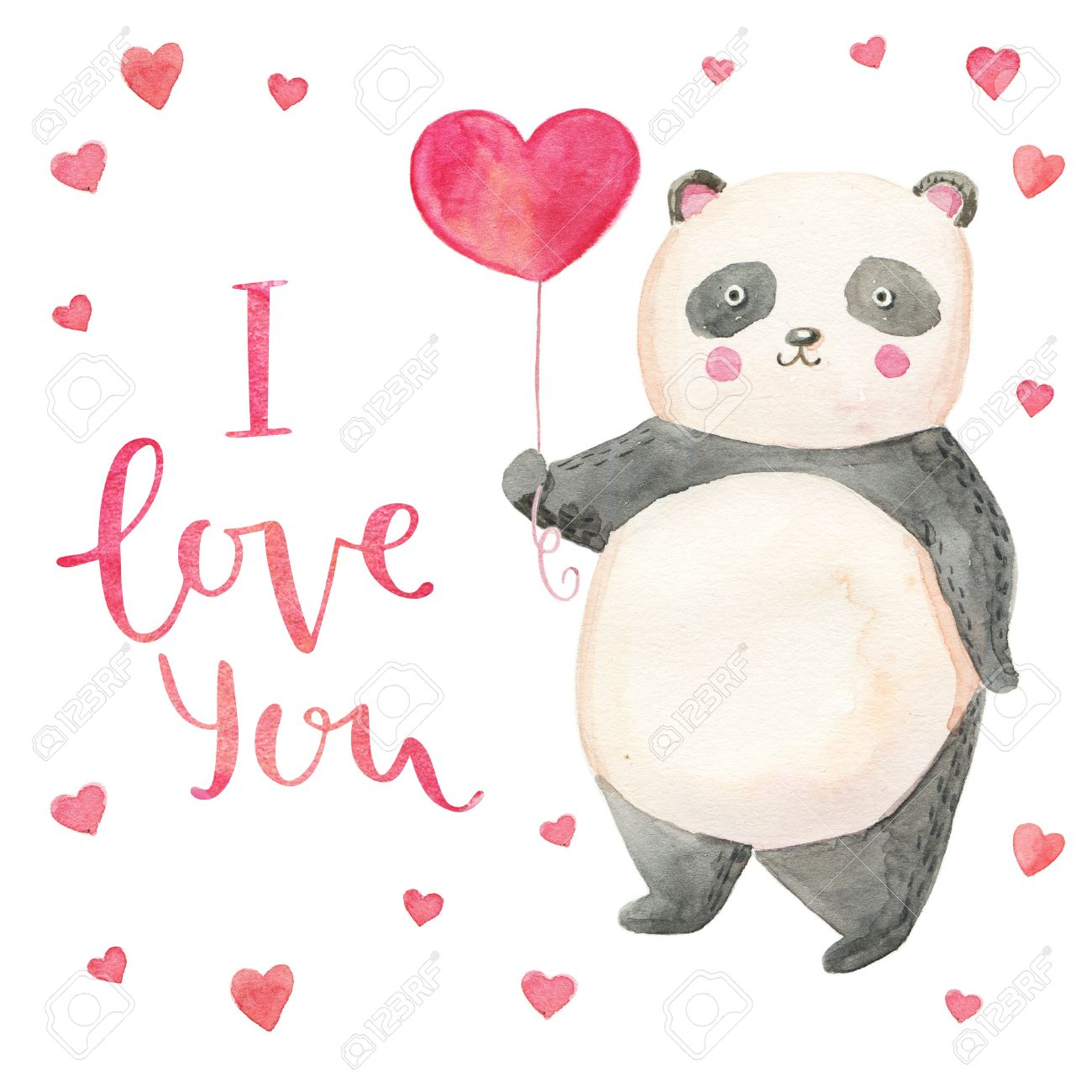 Cute Illustration Panda With Hearts Card For Valentines Day