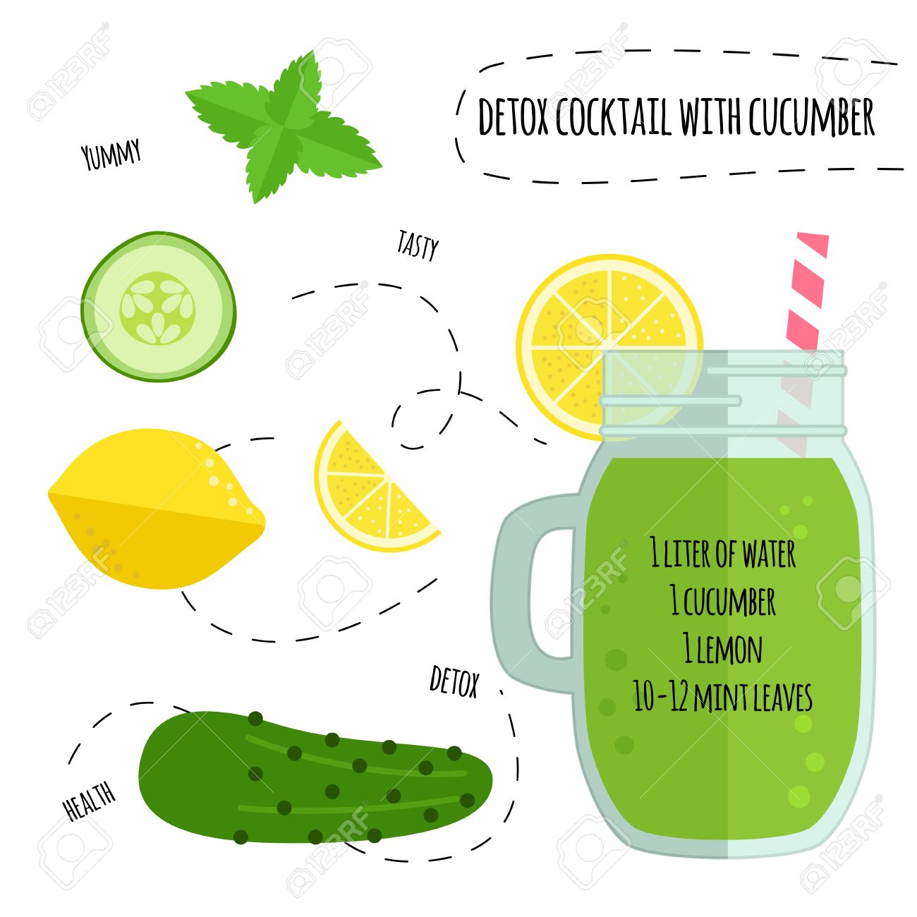 Recipe detox cocktail with lemon, cucumber, mint. Vector illustration for greeting cards, magazine, cafe and restaurant menu. Fresh smoothies for healthy life, diets. - 55732627
