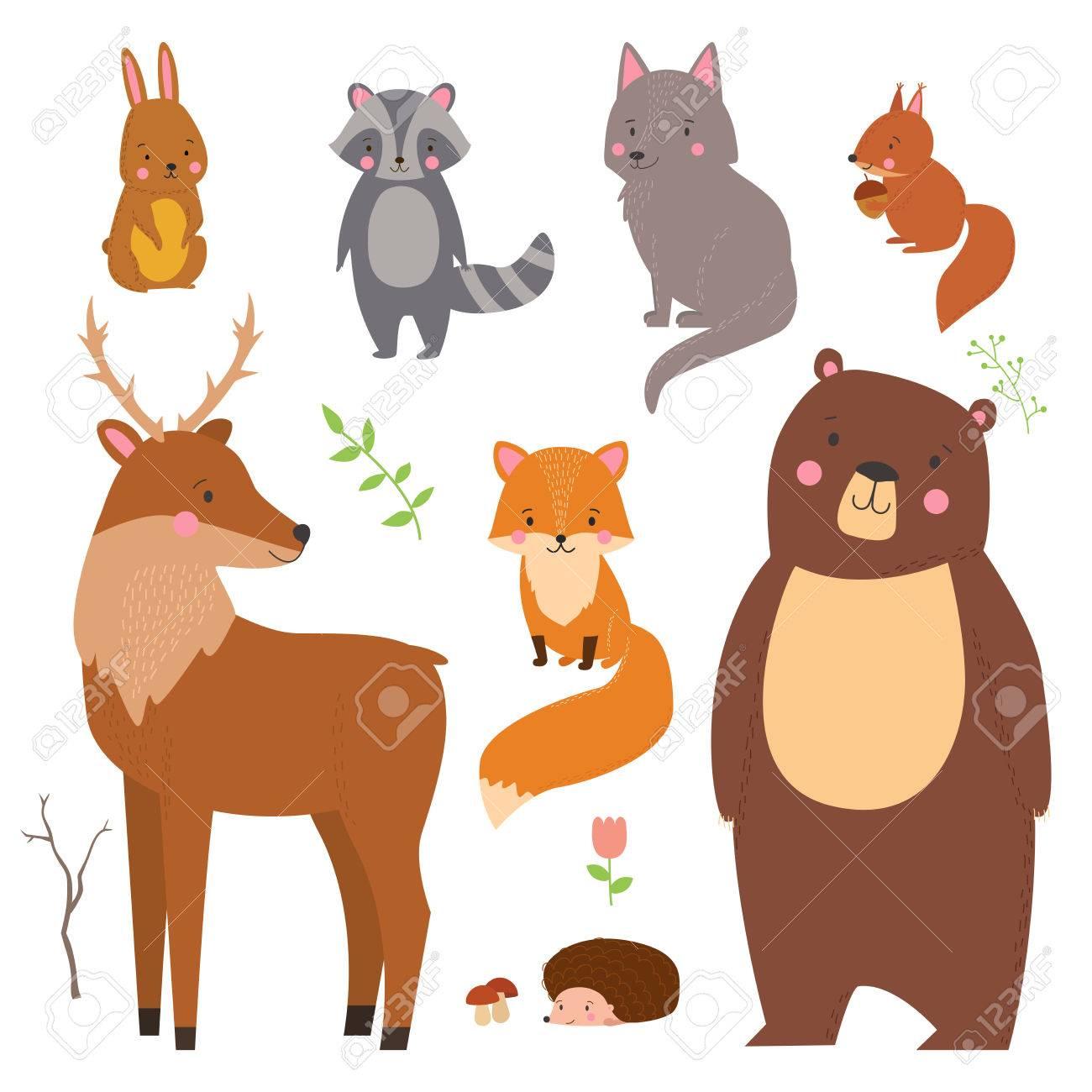白い背景に分離された森の動物のかわいいイラストのセットです。子供