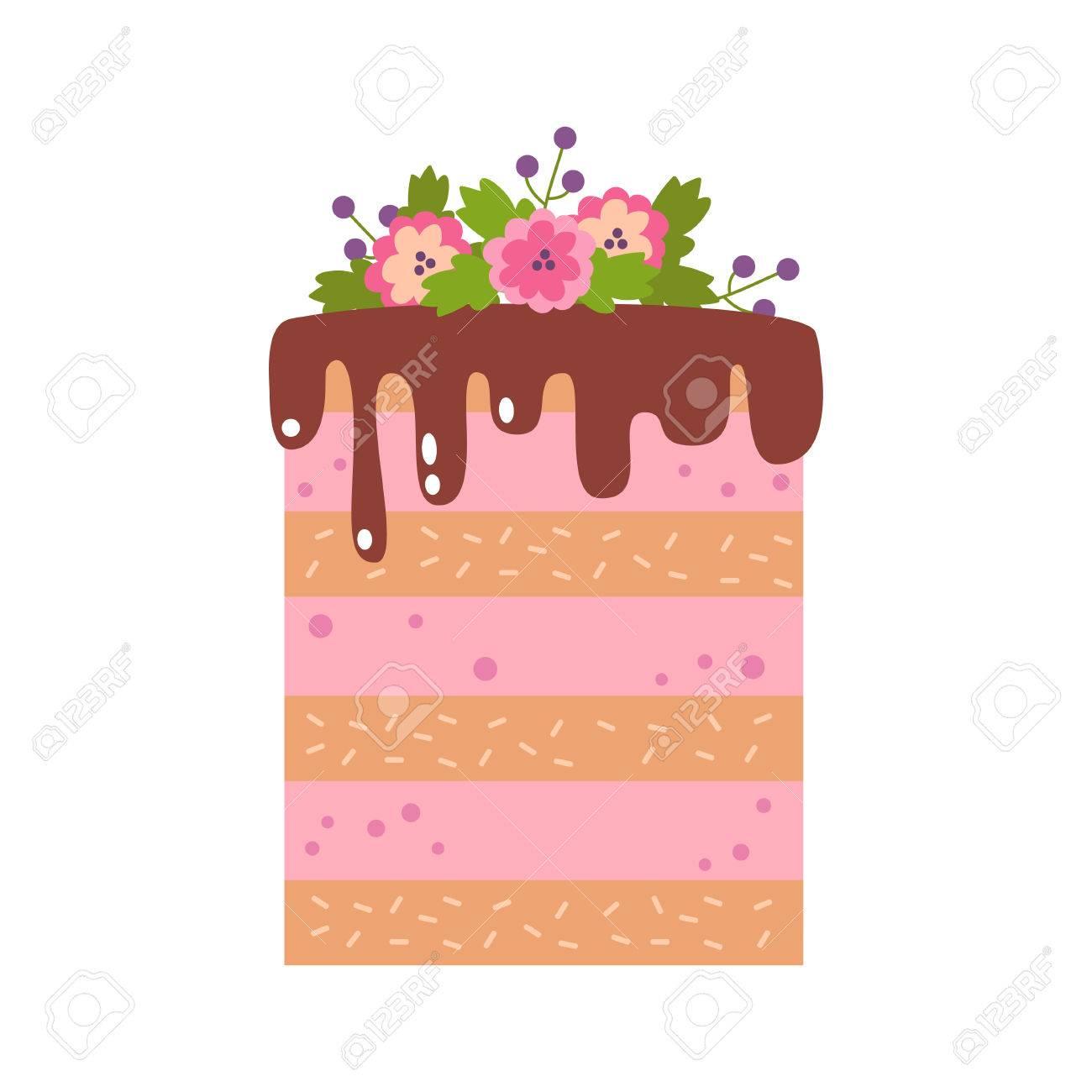 ケーキのベクトル フラット アイコン イラスト誕生日パーティーの装飾