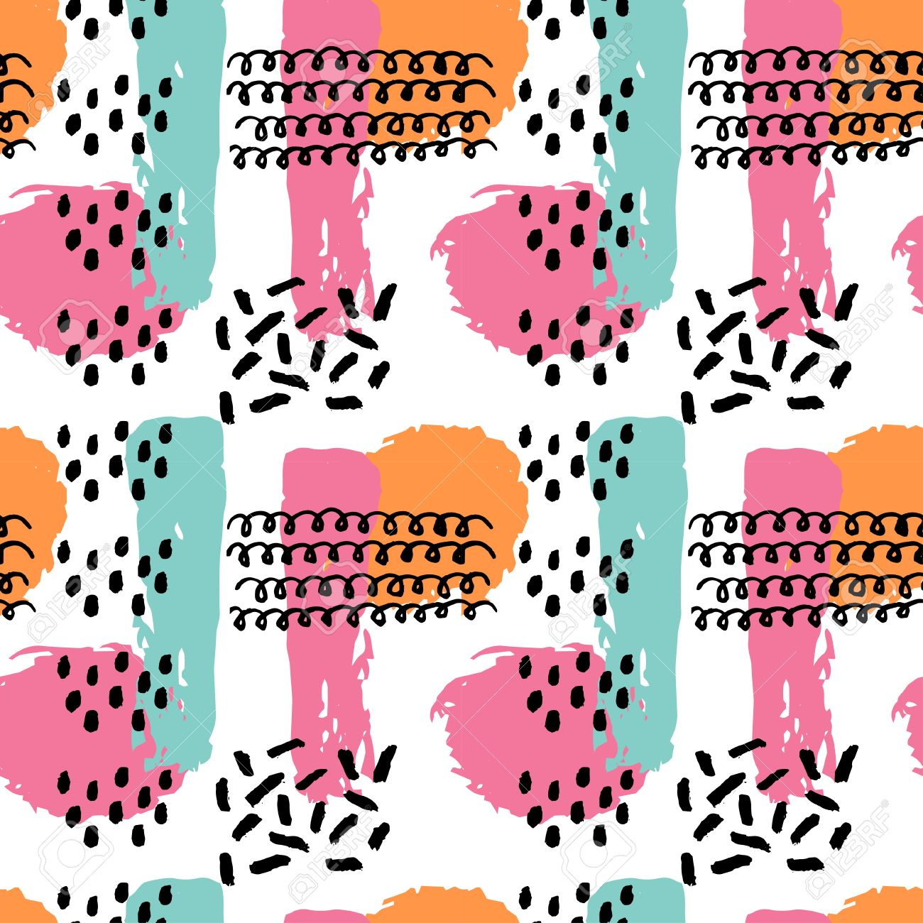 Memphis abstract seamless pattern background in retro vintage