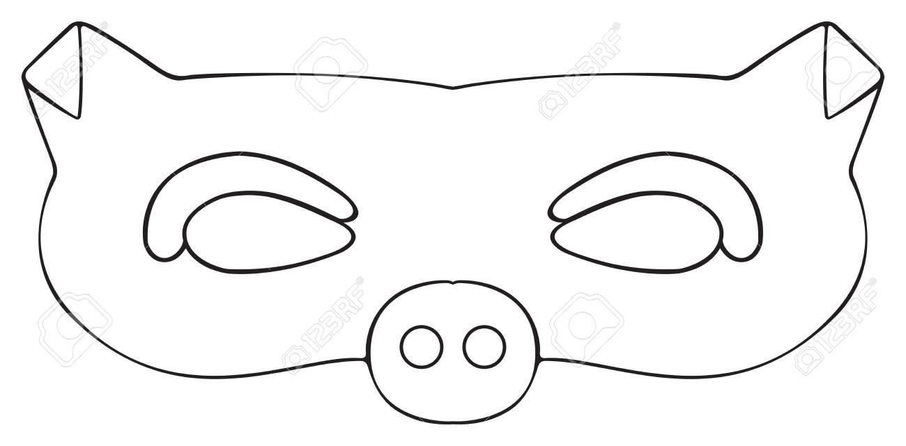 Máscara De Cerdo Agradable Jardín En El Fondo Blanco De La Colección ...