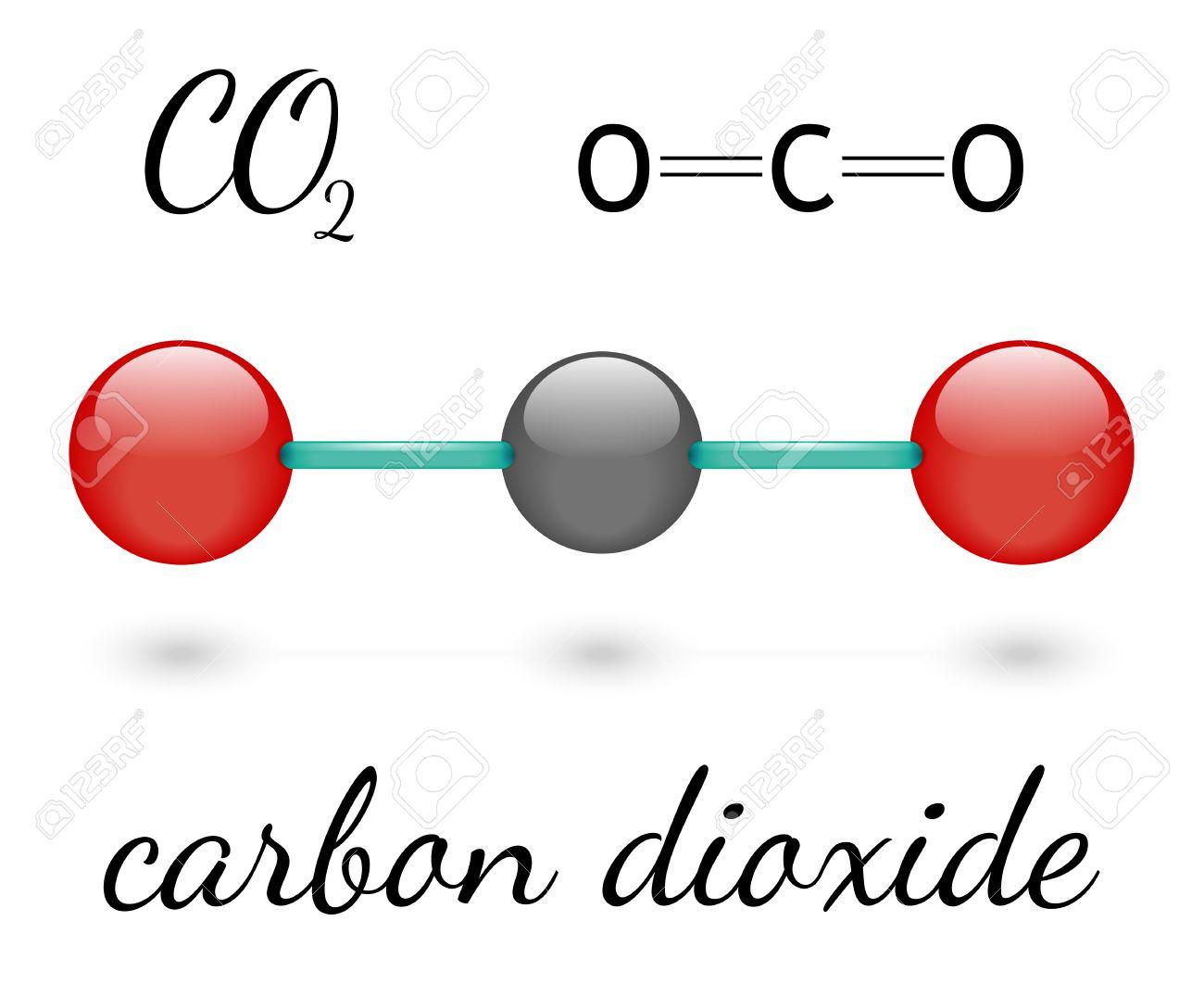 co2 二酸化炭素分子 3 d 表現と化学式 ロイヤリティフリークリップアート