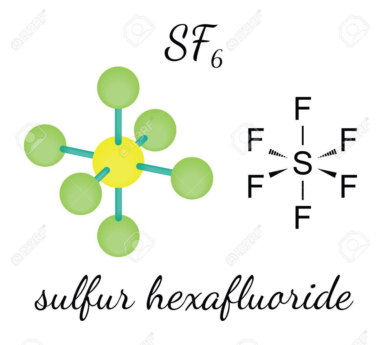 SF6 硫黄の六弗化物の 3 D 分子...