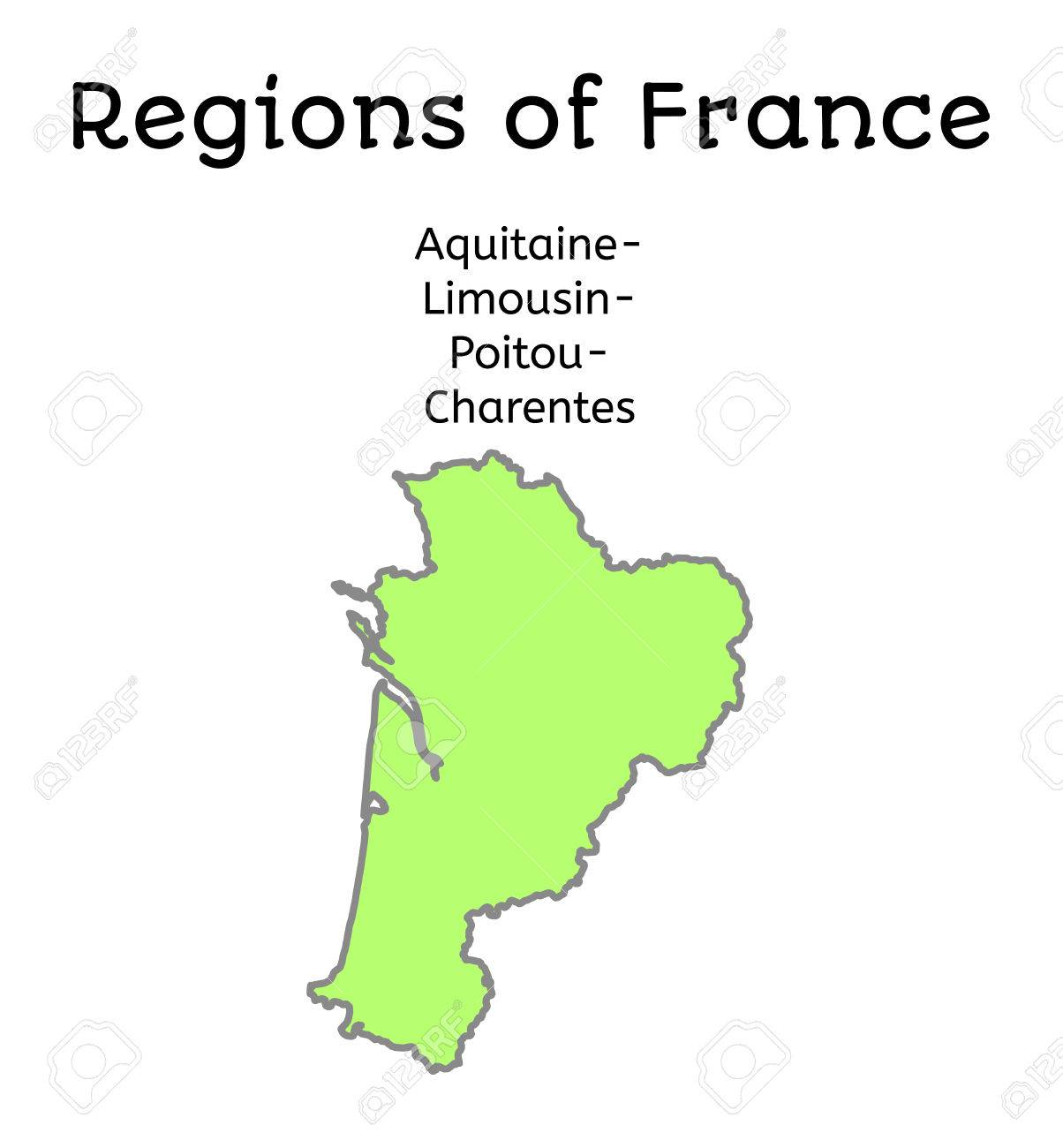 France Administrative Map Of AquitaineLimousinPoitouCharentes
