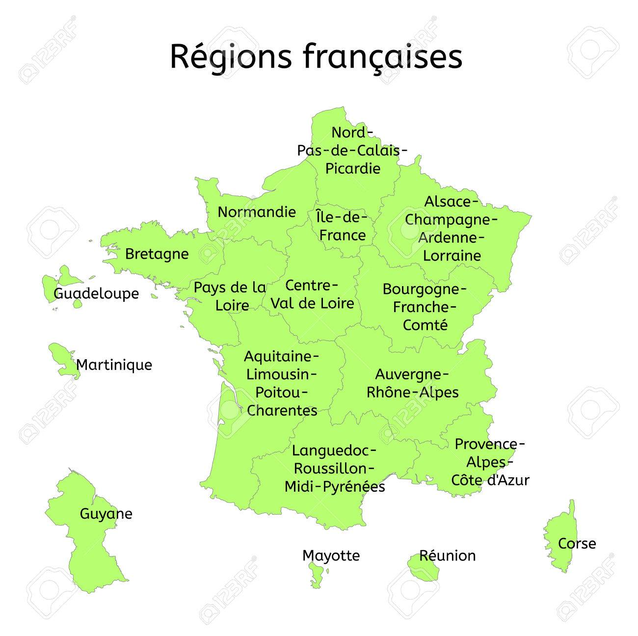 Map Of France New Regions.France Administrative Map With New Regions With Original French