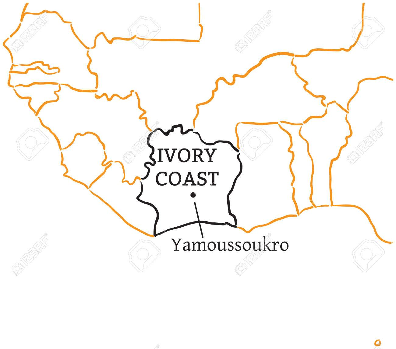 Picture of: Ivory Coast Country With Its Capital Yamoussoukro In Africa Hand Drawn Royalty Free Cliparts Vectors And Stock Illustration Image 58461157