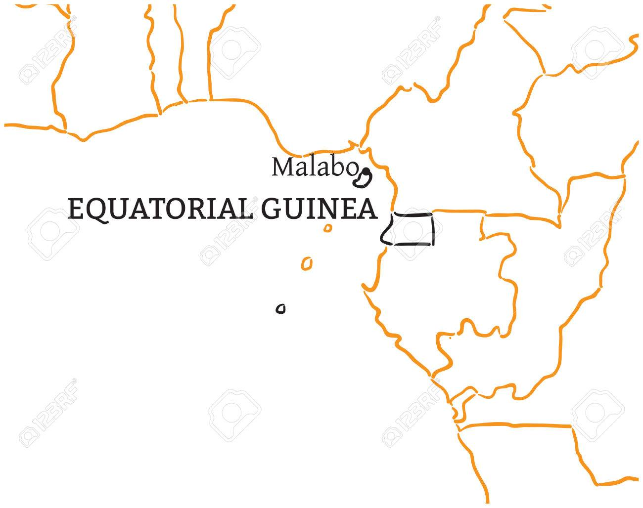 Equatorial Guinea Country With Its Capital Malabo In Africa Hand