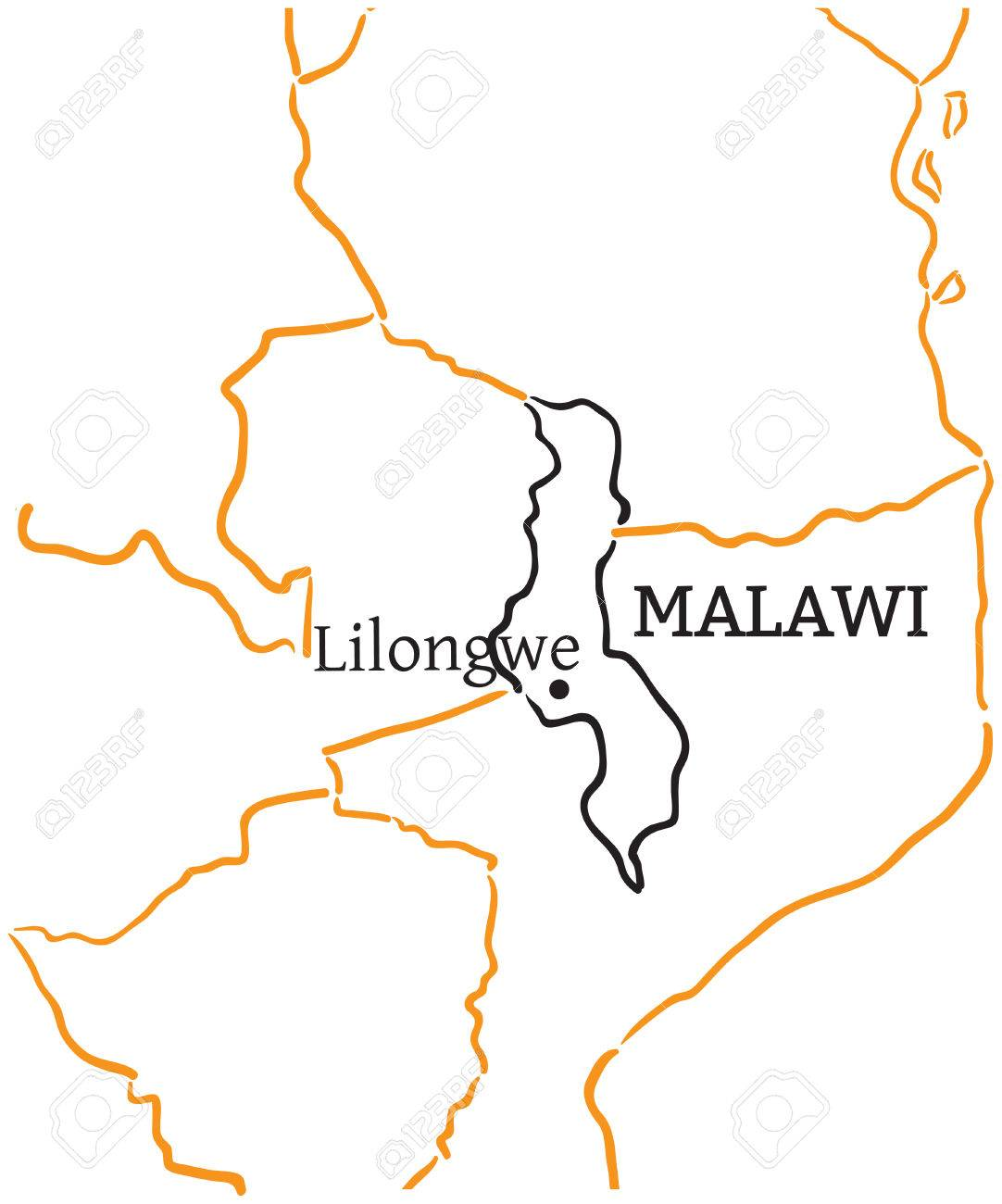 Malawi Country With Its Capital Lilongwe In Africa Handdrawn