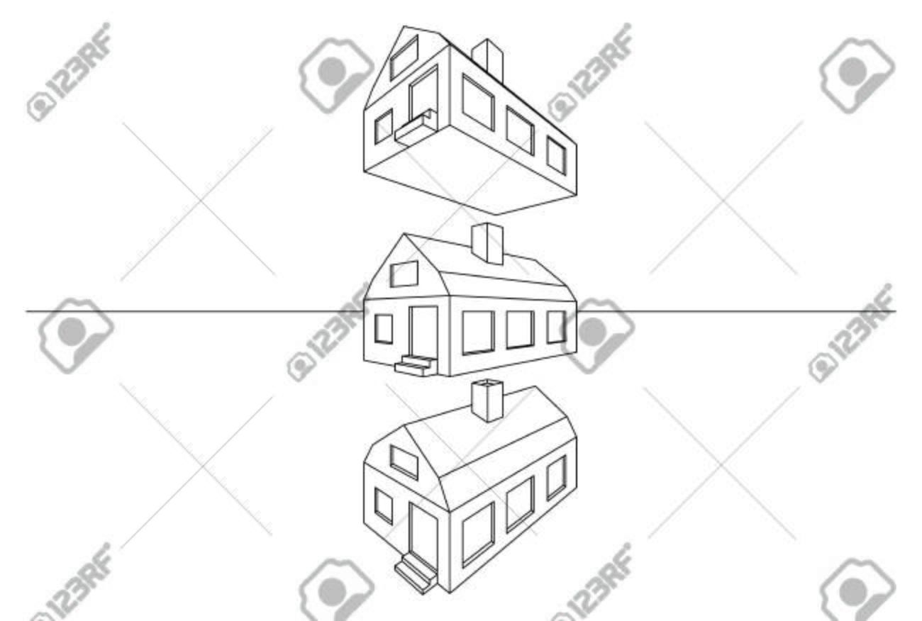 Linear architectural perspective 3d modern house model isolated linear architectural perspective 3d modern house model isolated on white stock vector 63875102 ccuart Image collections