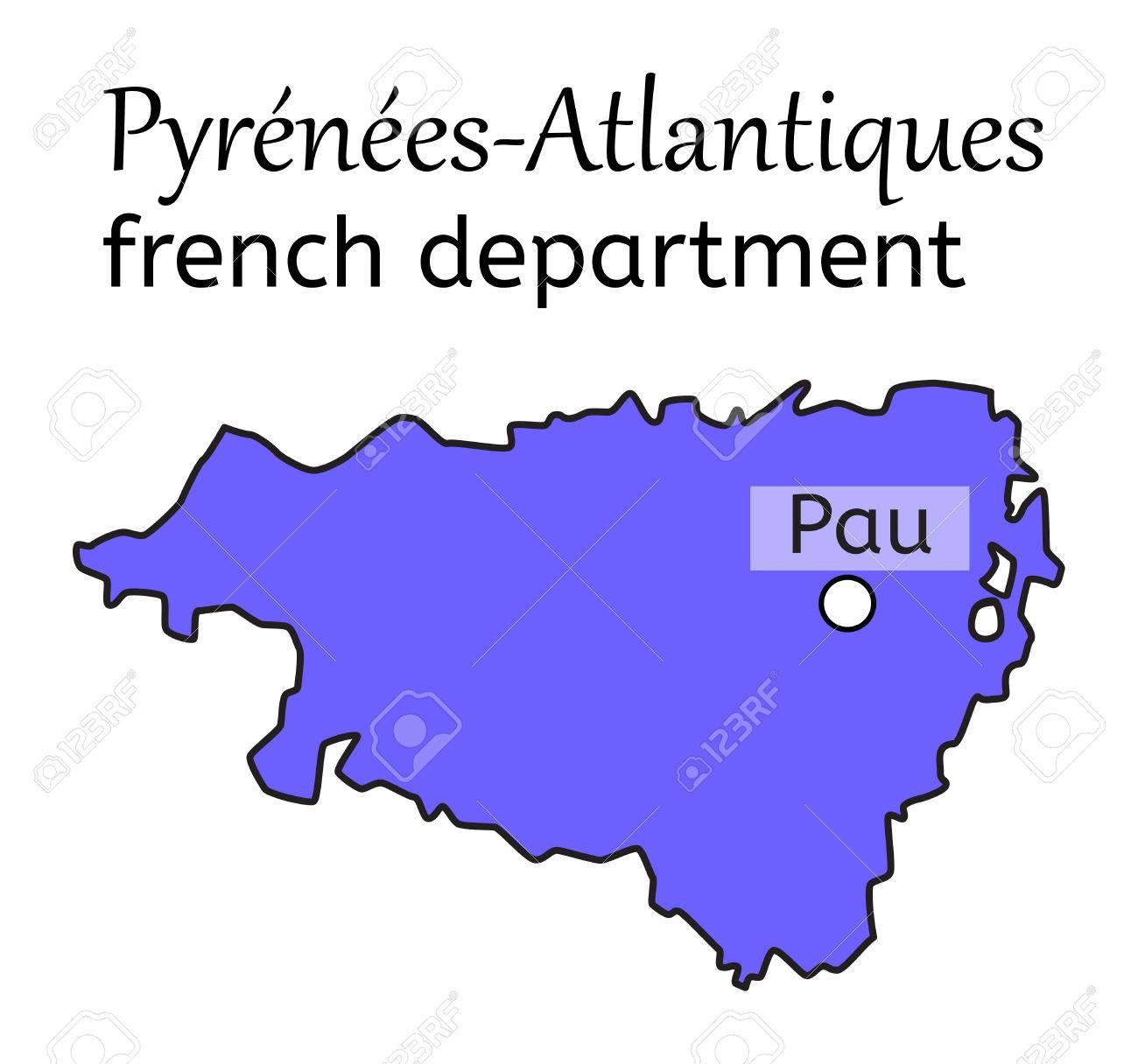 Pyrenees Atlantiques Francaise Carte Sur Blanc Dans Le Vecteur Clip Art Libres De Droits Vecteurs Et Illustration Image 67192079