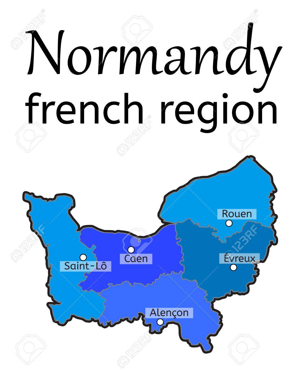 Evreux France Map.Normandy French Region Map On White In Vector Royalty Free Cliparts