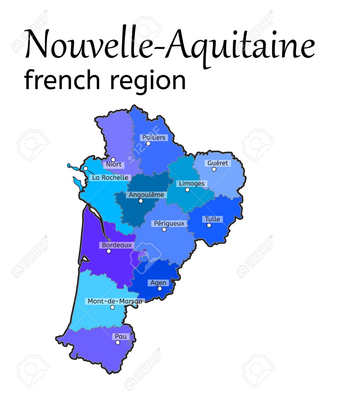 Nouvelle Aquitaine French Region Map On White In Vector Royalty Free Cliparts Vectors And Stock Illustration Image 67831506