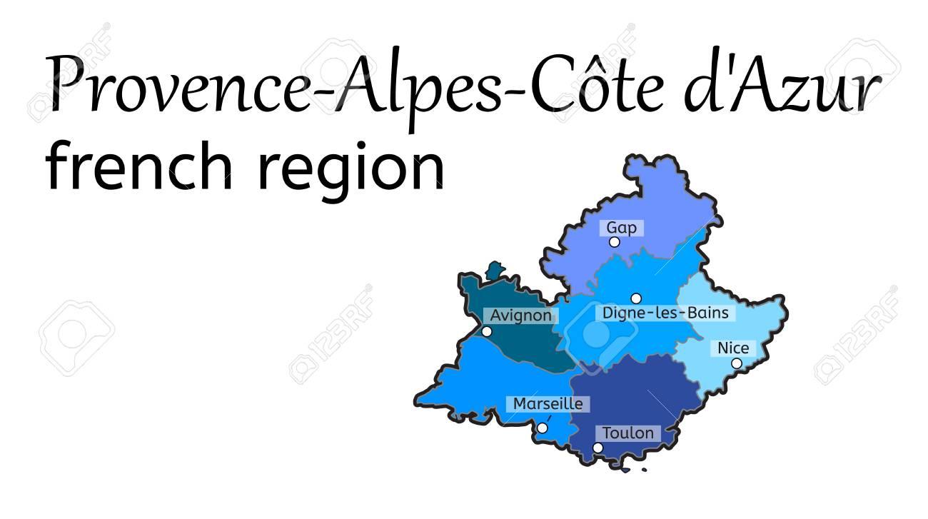 Provence Alpes Cote D Azur Francaise Carte De La Region Sur Blanc Clip Art Libres De Droits Vecteurs Et Illustration Image 66503354