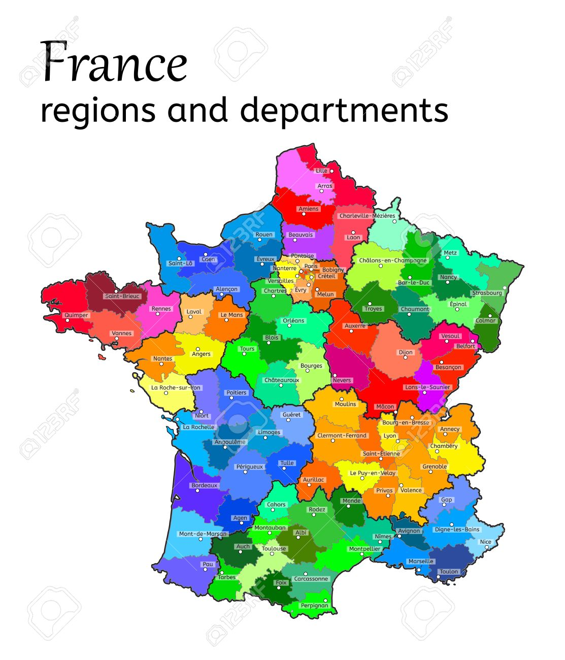 Evreux France Map.Administrative Map Of France With Regions And Departments On
