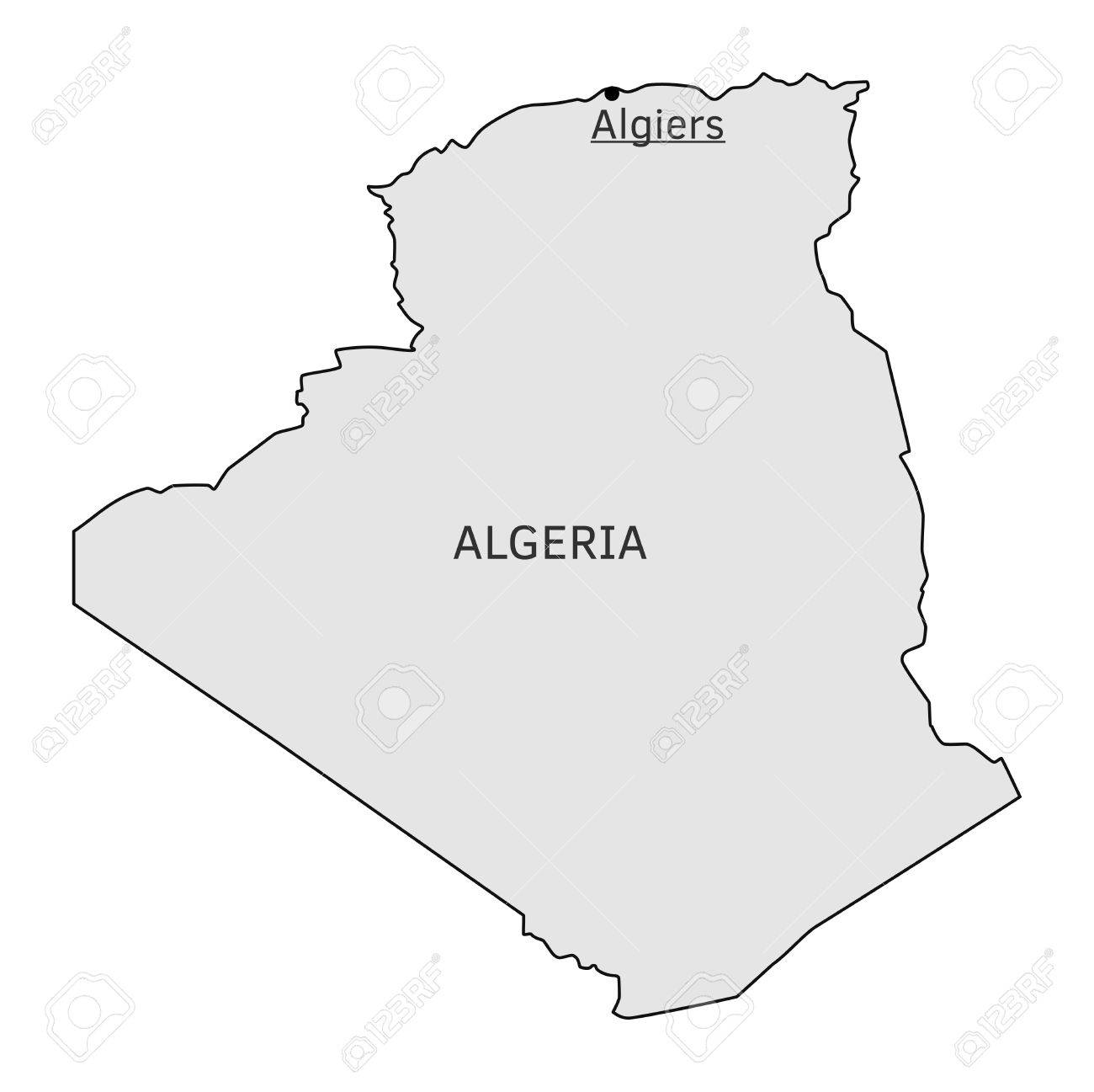 Carte Algeria Vector.Algeria Silhouette Map With Algiers Capital
