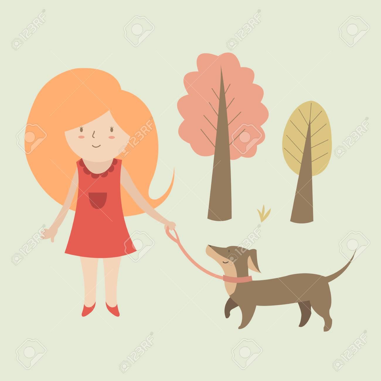 犬と一緒にかわいいイラスト女の子のイラスト素材ベクタ Image 42779824