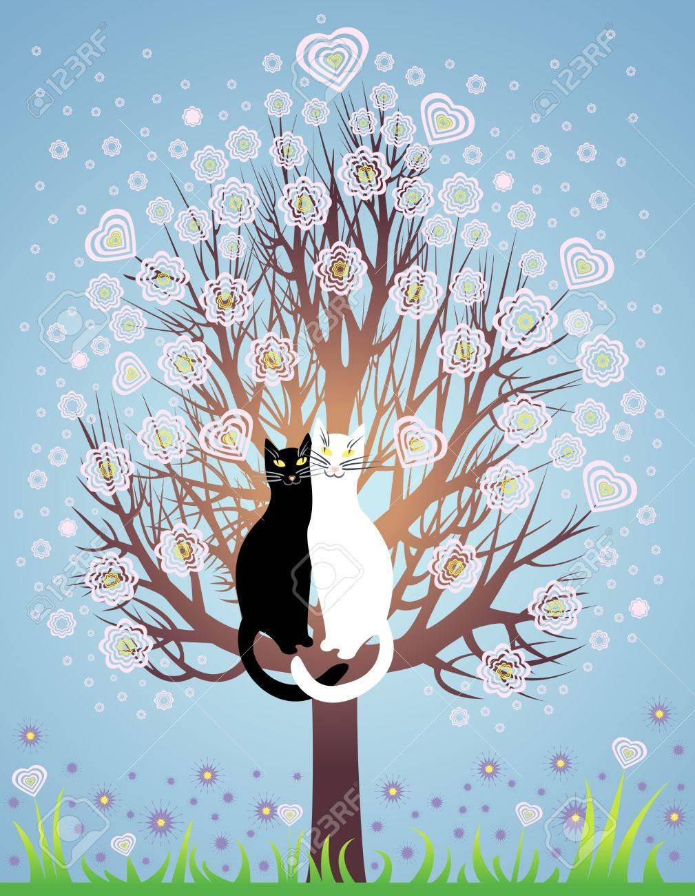 Banque dimages , Carte de voeux avec deux chats amoureux sur un ressort, arbre en fleurs