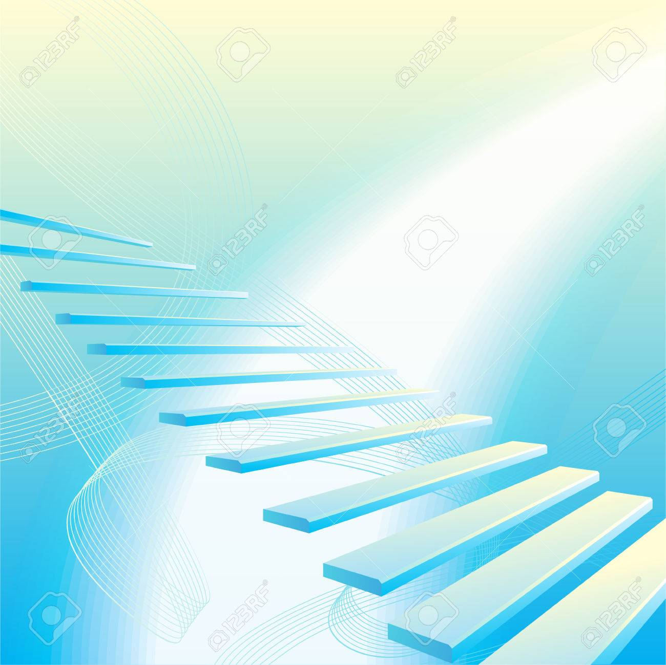Light blue abstract geometrical background with stair Stock Vector - 8879818