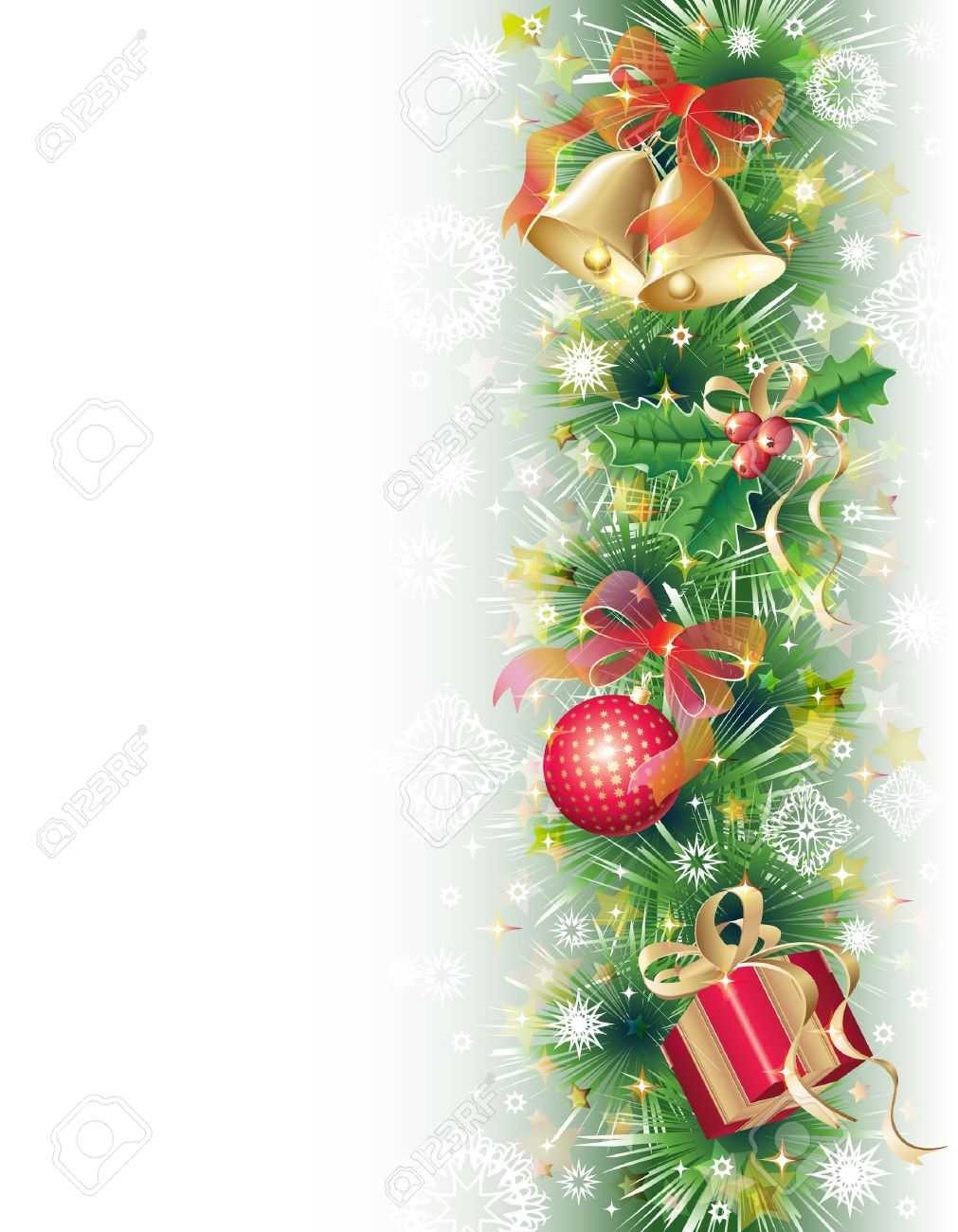 Green, gold and red background with christmas symbols (balls, bells, holly and gift box) Stock Photo - 11354775