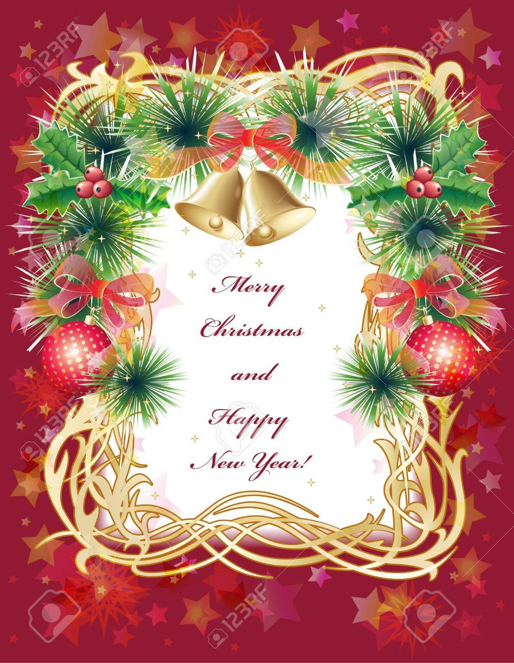 Gold And Red Christmas Greeting Card With Balls Bells Holly