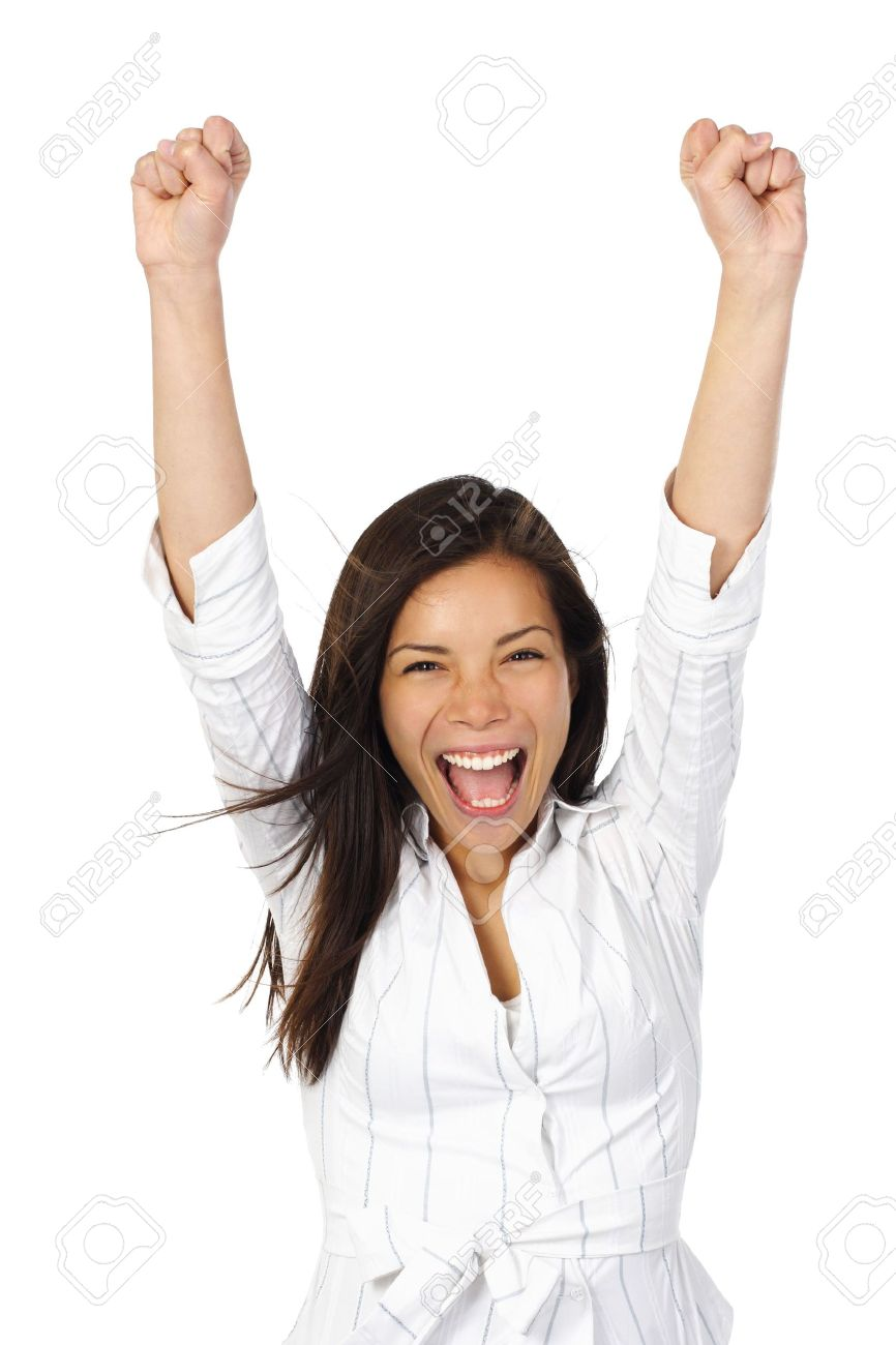 Beautiful happy young woman with her arms in the air. Isolated on white. Stock Photo - 4869840