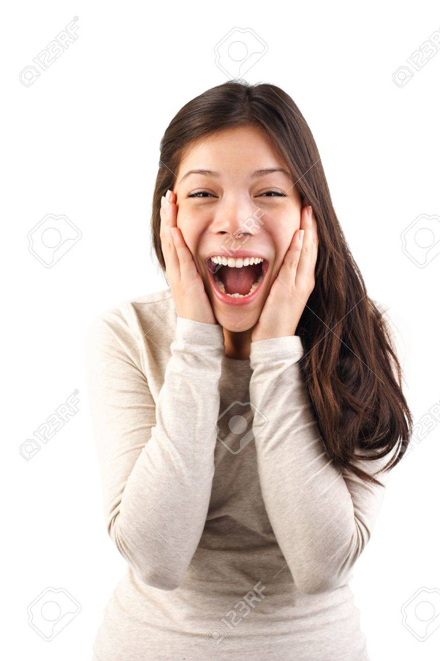 Excited surprised woman holding her head in surprise. Isolated on white background. Stock Photo - 5205111