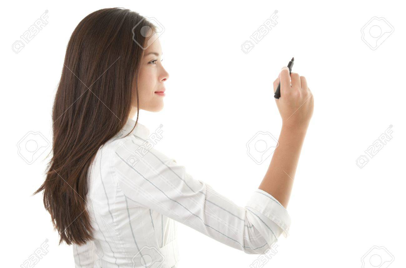 Businesswoman writing or drawing with pen on copy space / whiteboard. Casual beautiful young mixed race chinese / caucasian business woman isolated on seamless white background. Bright with backlight Stock Photo - 6186245
