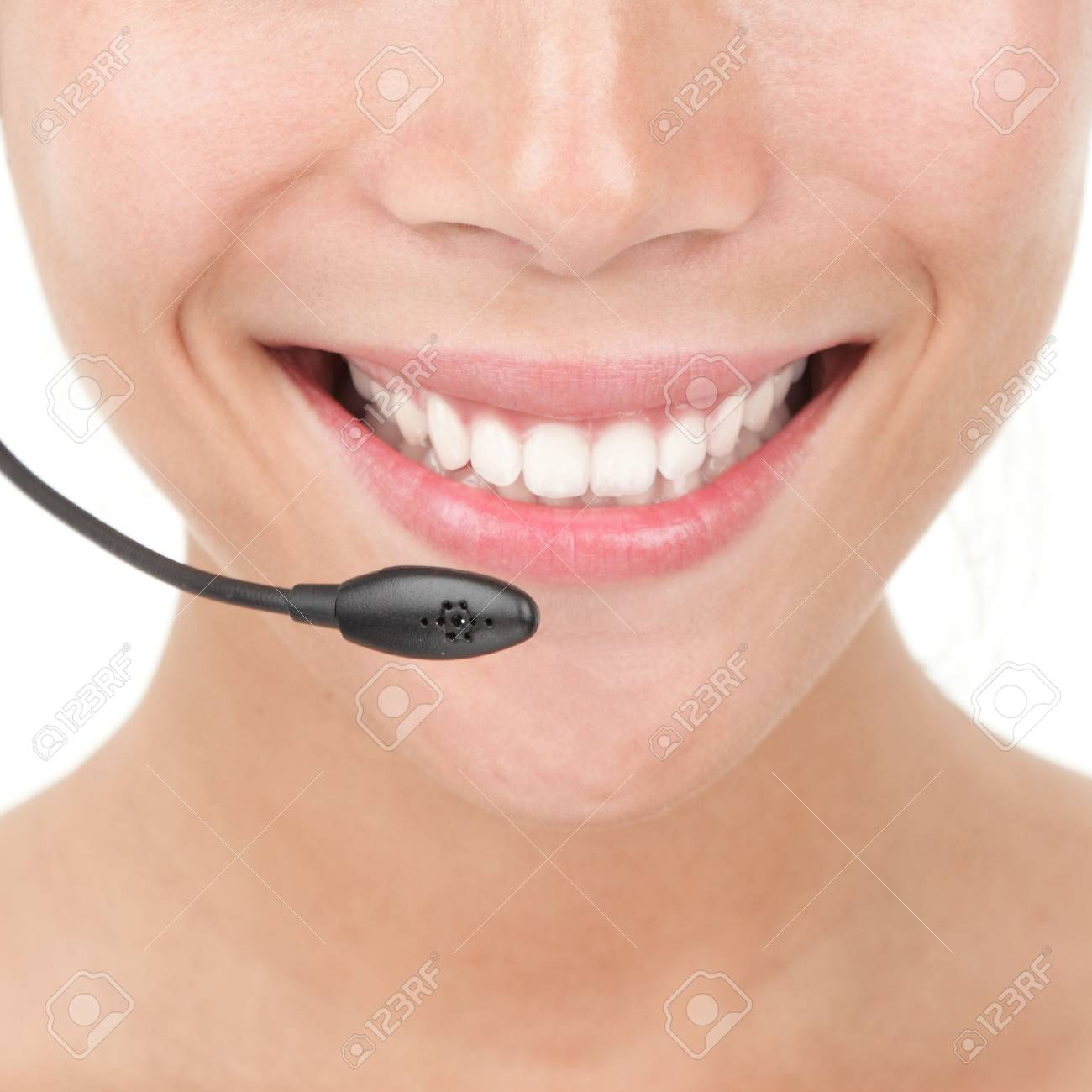 Closeup of beautiful woman with headset. Stock Photo - 6221268