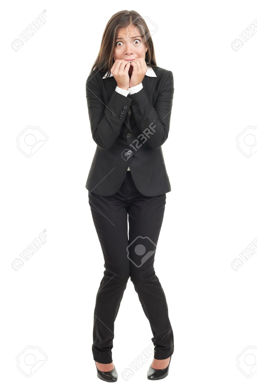 Nervous Scared Woman Biting Her Nails. Funny Asian Businesswoman ...