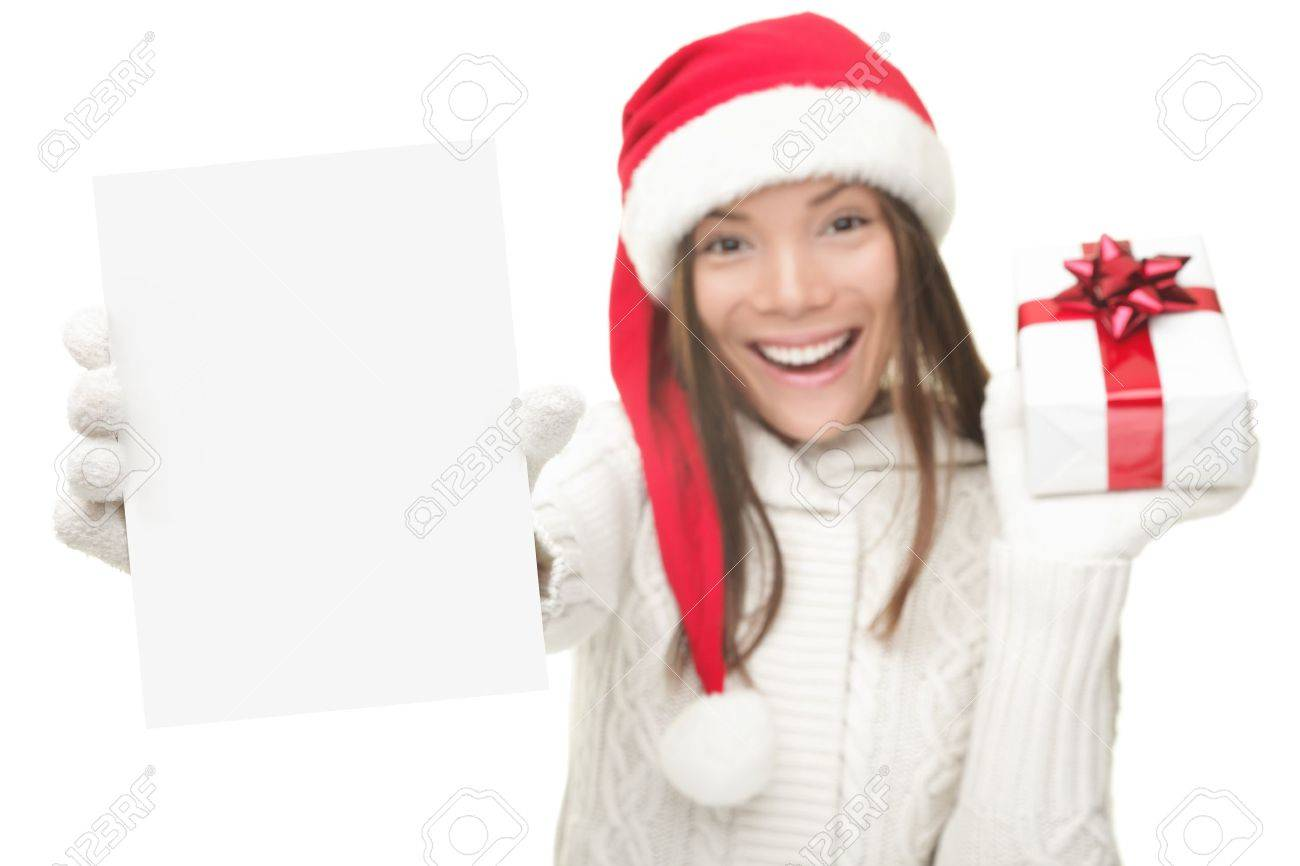 Christmas Woman Showing Blank Sign With Empty Copy Space ...