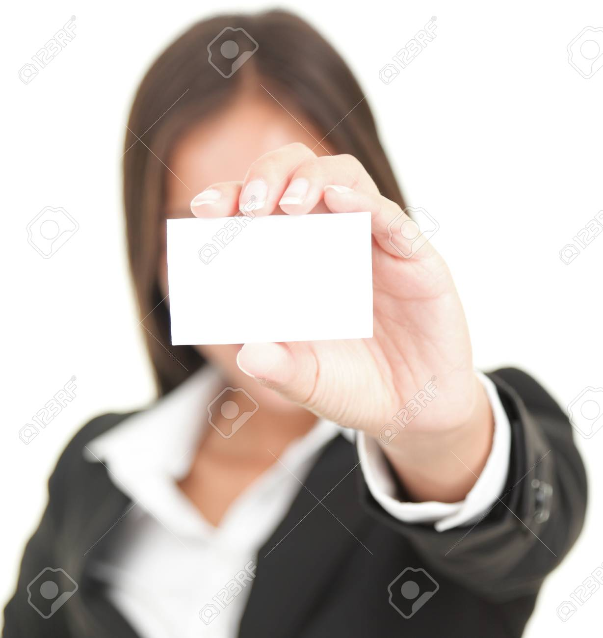 business person showing business card. Isolated on white background Stock Photo - 8114697
