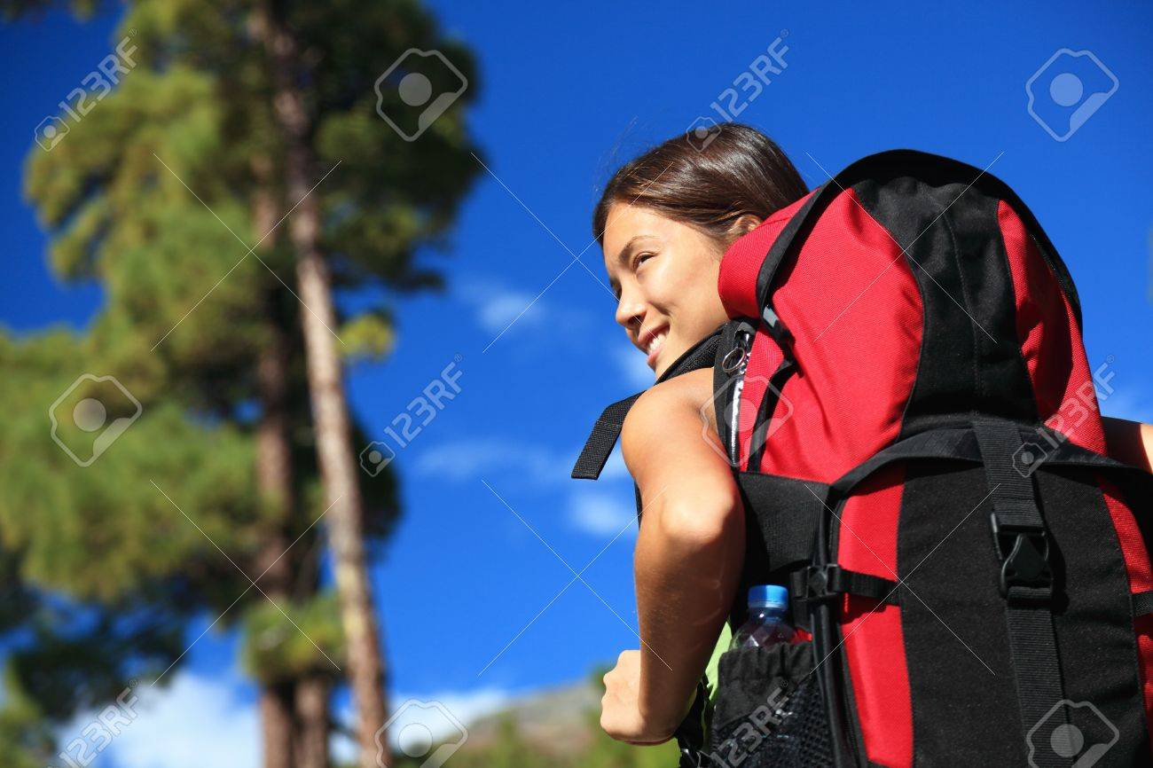 Hiking asian woman looking at view / copyspace. Tenerife, Canary Islands. Stock Photo - 8297101
